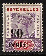 1893 90c On 96c Mauve & Carmine, SG 21, Fine Mint For More Images, Please Visit Http://www.sandafayre.com/itemdetails.as - Seychelles (...-1976)