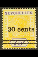 """1902 30c On 75c. Yellow And Violet, REPAIRED """"S"""", SG 42b, Fine Mint. For More Images, Please Visit Http://www.sandafayre - Seychelles (...-1976)"""