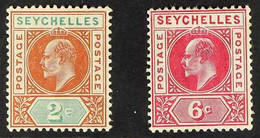 1906 2c Chestnut And Green And 6c Carmine, Wmk Mult Crown CA, Both With DENTED FRAME Variety, SG 60a And SG 62a Mint, Th - Seychelles (...-1976)