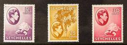 1938 12c Reddish Violet, 25c Reddish Violet, 30c Carmine, SG 139, 141, 142, All Very Fine Never Hinged Mint. (3 Stamps)  - Seychelles (...-1976)