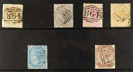 """MAURITIUS USED IN 1860-1890 """"B64"""" Cancelled Group On A Stock Card That Includes 1860-63 1s Buff (SG Z11), 1863-72 CC Wmk - Seychelles (...-1976)"""