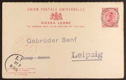 """1896 POSTAL STATIONERY REPLY CARD 1d+1d Carmine Complete Reply Postcard Addressed To Germany, Cancelled By """"Freetown"""" Cd - Sierra Leone (...-1960)"""