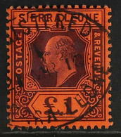 1904-05 £1 Purple On Red, SG 98, Very Fine Used With Crisp 'REGISTERED' Oval Cancel. For More Images, Please Visit Http: - Sierra Leone (...-1960)