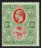 1912-21 10s Carmine & Yellow Green, MCA Wmk, SG 127b, Very Fine Mint For More Images, Please Visit Http://www.sandafayre - Sierra Leone (...-1960)