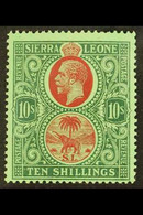 1921-27 10s Red And Green On Green, SG 146, Very Fine Mint. For More Images, Please Visit Http://www.sandafayre.com/item - Sierra Leone (...-1960)