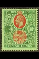 1921-27 10s Red & Green On Green, SG 146, Fine Mint, Very Fresh. For More Images, Please Visit Http://www.sandafayre.com - Sierra Leone (...-1960)