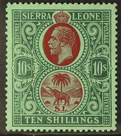 1921-27 10s Red & Green/green, Script Wmk, SG 146, Very Fine Mint For More Images, Please Visit Http://www.sandafayre.co - Sierra Leone (...-1960)