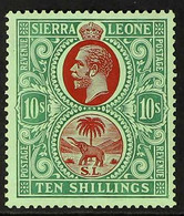 1921-27 10s Red & Green/green, Script Wmk, SG 146, Very Fine, Lightly Hinged Mint For More Images, Please Visit Http://w - Sierra Leone (...-1960)