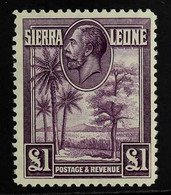 1932 £1 Purple, SG 167, Never Hinged Mint With A Couple Of Light Gum Tone Spots. For More Images, Please Visit Http://ww - Sierra Leone (...-1960)