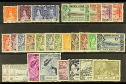 1937-49 COMPLETE MINT KGVI Presented On A Stock Card, SG 185/208, Very Fine Mint (25+ Stamps) For More Images, Please Vi - Sierra Leone (...-1960)