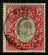"""1904 KEVII 5r Grey-black & Red, CC Wmk, SG 44, Fine Used With Neat, Upright """"Berbera"""" Cds For More Images, Please Visit  - Somaliland (Protectorate ...-1959)"""