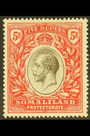 1912-19 5r Black & Scarlet, SG 72, Very Fine Mint For More Images, Please Visit Http://www.sandafayre.com/itemdetails.as - Somaliland (Protectorate ...-1959)