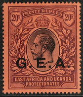 1917 20r Black And Purple On Red, SG 61, Fine Mint, 2 Tiny Gum Thins. For More Images, Please Visit Http://www.sandafayr - Tanganyika (...-1932)