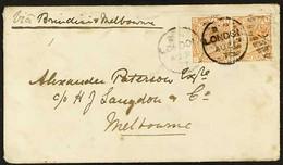 1877 (Aug 31) Cover To Melbourne, Australia, Bearing 8d Orange (SG 156) Left Marginal Horizontal Pair, Tied By London Du - Unclassified