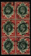 1902-10 1s Dull Green & Carmine De La Rue Printing, SG 257, Used BLOCK Of 6, Corner Crease, Scarce Multiple. (6 Stamps)  - Unclassified