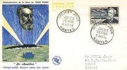 44  Lettre Fdc Jules Verne 1955 - 1950-1959