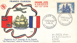 49 Lettre Fdc France Canada 1955 - 1950-1959