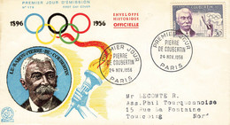 51 Lettre Fdc  Pierre De Coubertin 1956 - 1950-1959