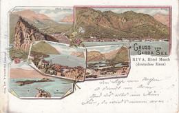 Litho 1898 - Lago Di Garda, Riva, Gruss Vom Garda See, Hotel Musch, Deutsches Haus, Verona, Italia - Verona