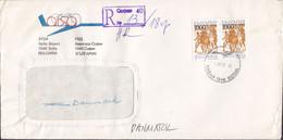 Bulgaria ATSA Sofia Airport Registered Einschreiben SOFIA AIRPORT 1997 Cover Brief Denmark Horse Pferd Cheval - Briefe U. Dokumente