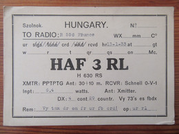 Hongrie - Carte QSL Radio HAF 3GL - Szolnok - 1933 - Radio Amatoriale