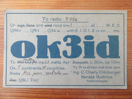 Tchécoslovaquie - Carte QSL Radio Ok3id - Banska Bystrica - Vers 1930 - Radio Amatoriale