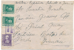 1939 Lettre  > REFUGIÉS ESPAGNOLS ST QUAI PORTRIEUX Cotes Du Nord - Accueil Spain Espana Censure  France Pension - Seconda Guerra Mondiale