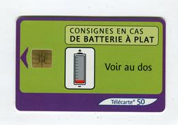 Telecarte 50u °_ 1272A-Consignes Batterie-So3-04.03-5604 Petit Numéro- R/V - 50 Unità