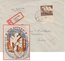 DR - 42 Pfg. Braunes Band Einschreibebrief Zeulenroda - Pausa 1942 Vignette ! - Briefe U. Dokumente