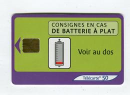 Telecarte 50u °_ 1272F-Consignes Batterie-SA1-10.03-1977 Petit Numéro- R/V - 50 Unità