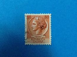 1953 ITALIA FRANCOBOLLO USATO ITALY STAMP USED SIRACUSANA TURRITA 80 LIRE FILIGRANA RUOTA - 1946-60: Usati