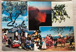 Sicile 1971 5 Vues Volcan Etna Olivier Groupes Folkloriques - Altre Città