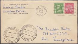 Ganzsache, San Diego-Pennsylvania, Deutsche Marine Schiffspost Nr. 28, Gelaufen 1934 - 1921-40