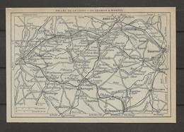 CARTE PLAN 1929 - VALLÉE De La LOIRE DE SAUMUR à NANTES - CHOLET - MONTAIGU - ANGERS - THOUARS - BRESSUIRE - Carte Topografiche