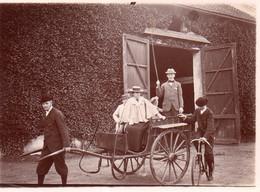 Photographie Anonyme Vintage Snapshot Ariès Attelage Calèche Carriole Drôle Gag - Altri