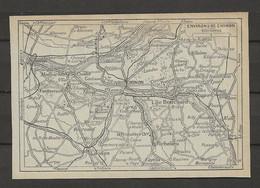 CARTE PLAN 1929 - ENVIRONS De CHINON - L'ILE BOUCHARD - FONTEVRAULT - SAUMUR - RICHELIEU - BOURNAND - VILLAINES - Carte Topografiche
