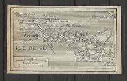 CARTE PLAN 1929 - ILE DE RÉ - St MARTIN - LA COUARDE - PHARE LAVERDIN - LA PALLICE - ARS En RÉ - Carte Topografiche
