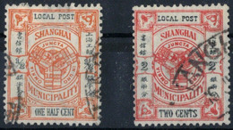 2x Briefmarke China Shanghai Local Post - O - 1 One Half Cent + Two Cents - 1912-1949 Republik