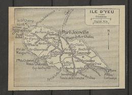 CARTE PLAN 1929 - ILE D'YEU - PORT JOINVILLE - SÉMAPHORE - GRAND PHARE - KER CHALON - St SAUVEUR - Carte Topografiche