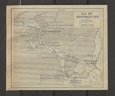 CARTE PLAN 1929 - ILE DE NOIRMOUTIER - L'HERBAUDIERE - EMBARCADERE De FROMENTINE - BEAUVOIR Sur MER - Carte Topografiche