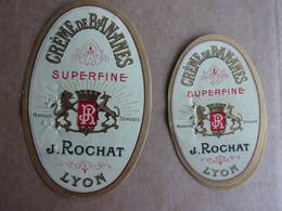 Lot De 2 étiquettes Anciennes CREME DE BANANES Superfine J.ROCHAT, Lyon - Alcolici