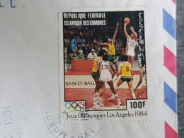TB Sport Basket-Ball Jeux Olympique Los Angeles 1984 Sur Lettre Comores - Pallacanestro