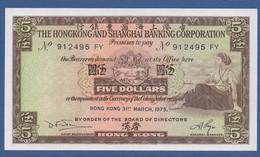 HONG KONG - HSBC - P.181f – 5 Dollars 31.03.1975 UNC  Serie 912495 FY - Hongkong