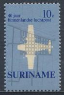Suriname 1970 Mi 581 SG 676 ** 40 Years Of Inland Airmail Flight /  Luftpostdienst Im Inland - Stadtplän Paramaribo - Posta