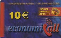 GREECE - Christmas Bonus, EconomiCall, Petroulakis Prepaid Card 10 Euro, Used - Natale