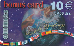 GREECE - Season Greetings, Globe & Flags, Bonus Card, Amimex Prepaid Card 10 Euro/3408 GRD, Used - Natale