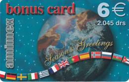GREECE - Season Greetings, Globe & Flags, Bonus Card, Amimex Prepaid Card 6 Euro/2045 GRD, Used - Natale
