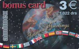 GREECE - Season Greetings, Globe & Flags, Bonus Card, Amimex Prepaid Card 3 Euro/1022 GRD, Used - Natale