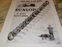 ANCIENNE PUBLICITE POUR TOUT CE QUI ROULE PNEU  DUNLOP 1934 - Sonstige