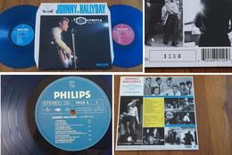 """RARE French DOUBLE LP 33t RPM (12"""") JOHNNY HALLYDAY (éd. Ltd 3500 Copies Et Numérotée, Vinyles Bleus) - Rock"""